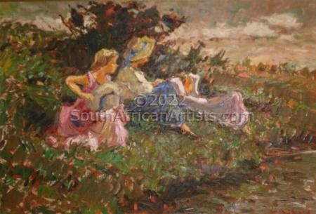 """Children at the river"""