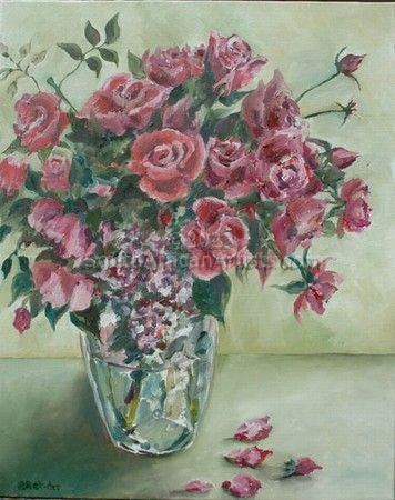 """Roses in Glass Vase"""
