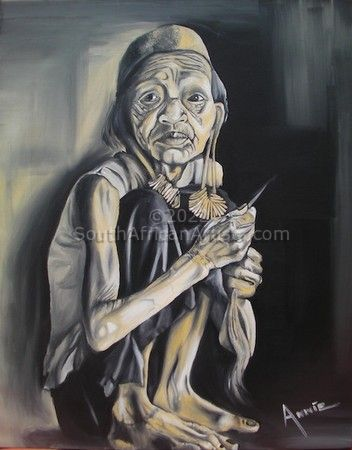 """Crouching old indonesian lady"""