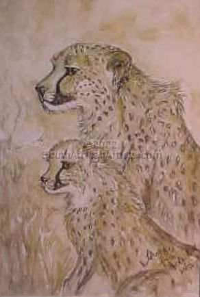 """Cheetah Mother and Child"""
