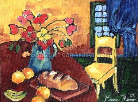 """Interior with a yellow chair"""