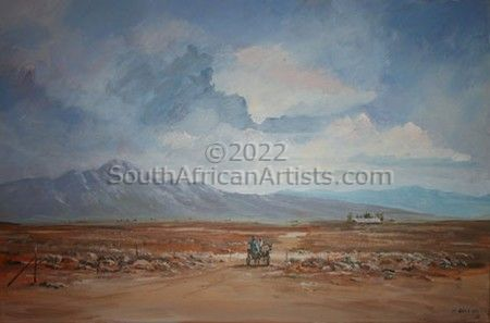 """Donkey Cart with Distant House"""