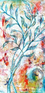 """Flower Sketch on Wood 3 - 3239"""