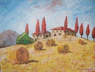 """Tuscan Field With Palette"""