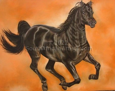 """Galloping Black Horse Through Orange"""