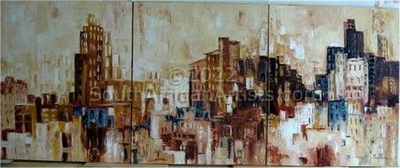"""Life in the City, triptych"""
