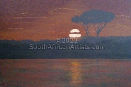 """African Lake Sunset"""