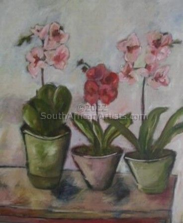 """Potted Orchids on Table"""