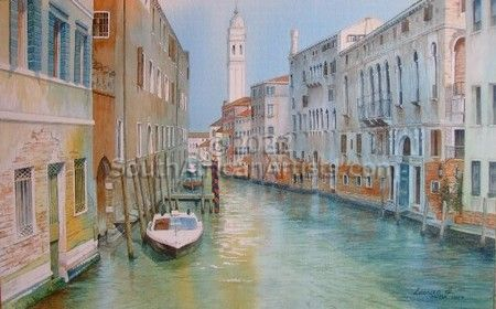 """Venice Canal with Tower"""