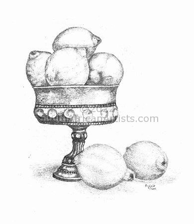 """Lemons in Pewter Bowl"""