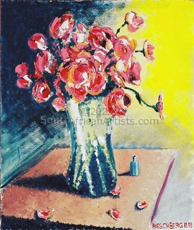 """Pink Flowers in Glass Vase"""