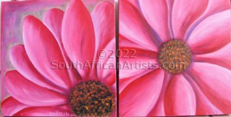 """A Duo of Pink Daisies"""