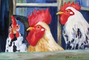 """Two Roosters and Hen"""