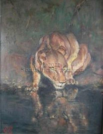 """Lioness at Waterhole"""