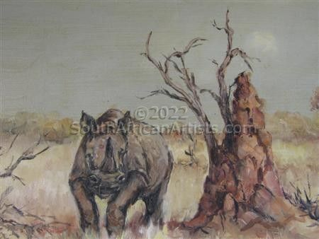 """Rhino at ant hill"""