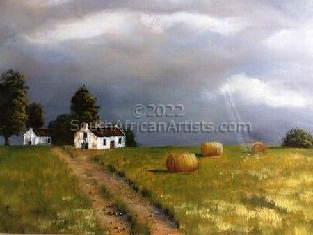 """Cape Dutch House in Field"""