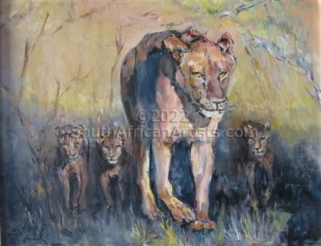 """Lioness and Cubs"""