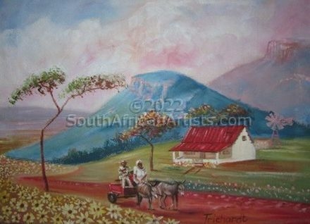 """Farm With Donkey Cart"""