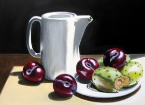 """Still Life - Plums and Prickly Pears"""