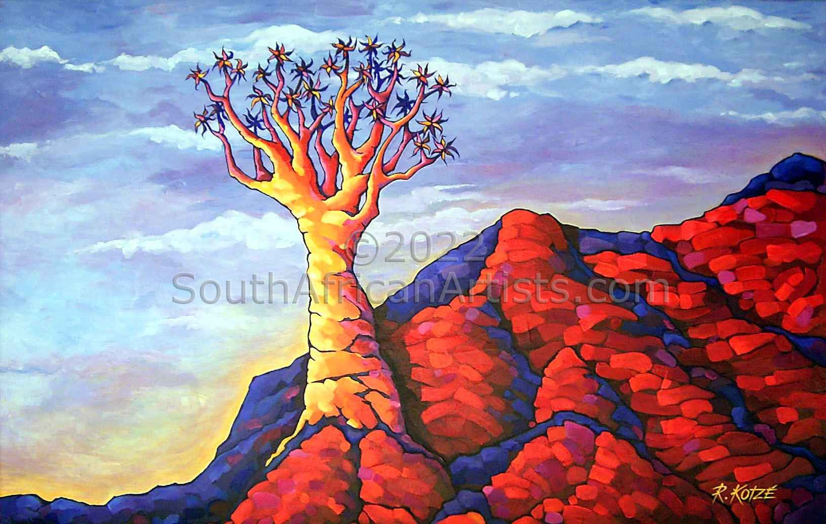"""Rocky Outcrop Quiver Tree - Landscape Painting"""