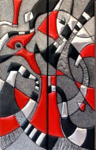 """Composition 4 & 5 with Red in Metal"""