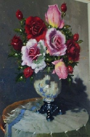 """Pink and Red Roses in Vase"""