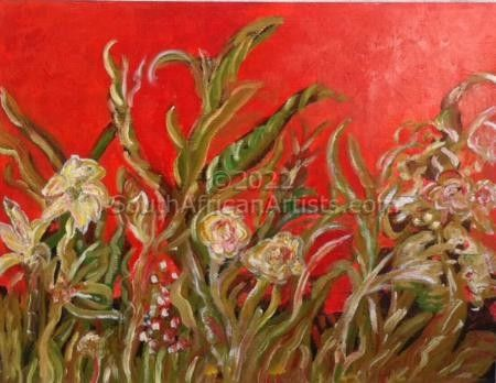 """Garden Image on Red"""