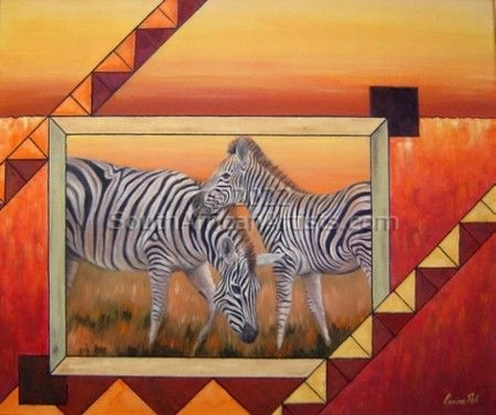 """Zebras in African Collage"""