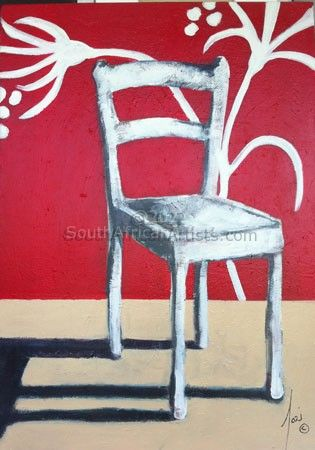 """White Chair with Red Background"""