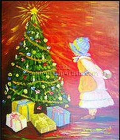 """Little Girl at Christmas Tree"""