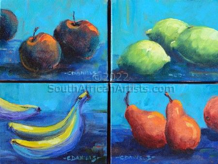 """Fruit Four (4 Small Paintings)"""