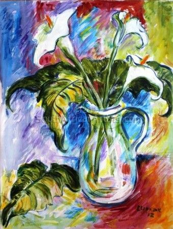 """Arums in a Glass Jug"""