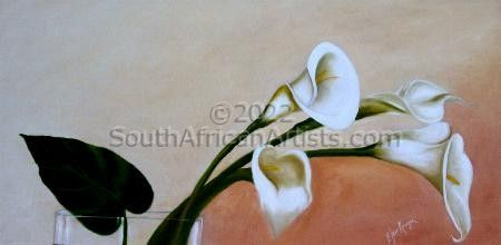 """White Lilies in Vase"""