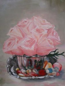 """Roses in Silver Bowl"""