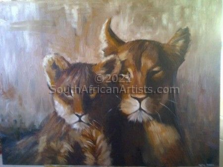 """Lioness and Cub"""