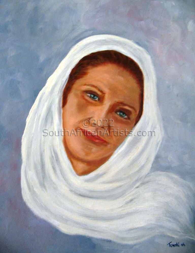 """Woman with a White Scarf"""