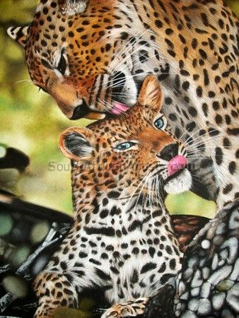 """Leopard Mom and Cub"""