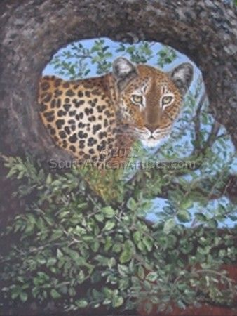 """Leopard in the Leafy Frame"""