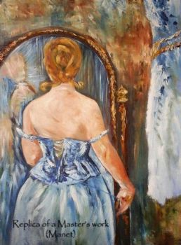 """Lady at Mirror - Manet Replica"""