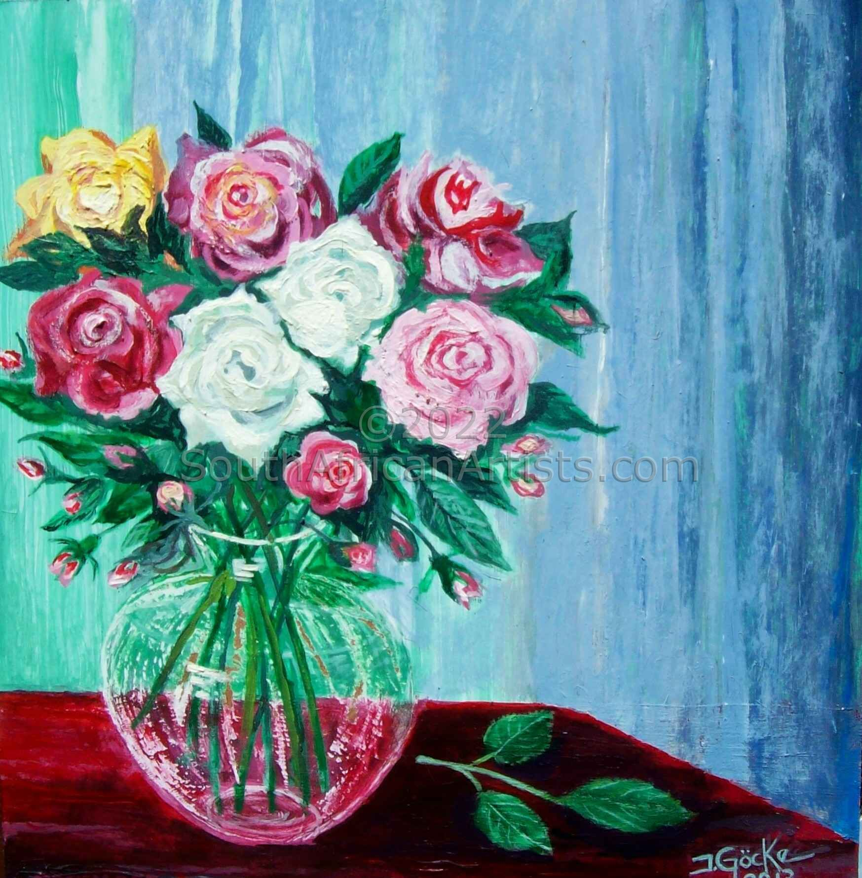 """Mixed Roses in a Vase"""