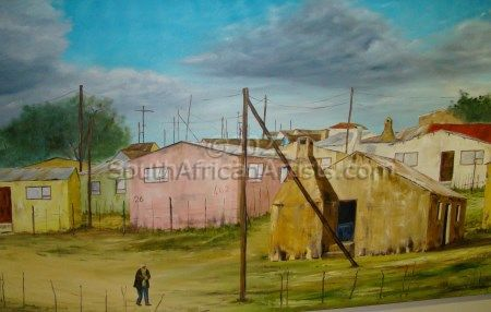 """Painting of Township in Langkloof"""