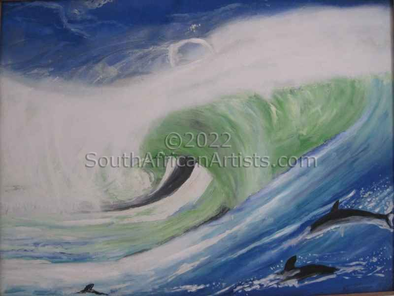 """Dolphins in the Surf"""