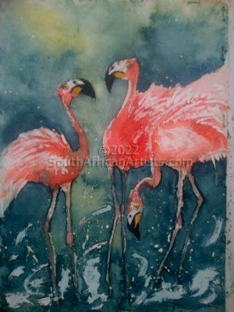 """Flamingos in the Mist"""
