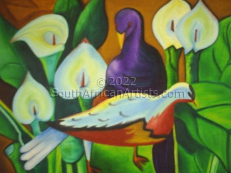 """Blue Pigeons Amongst Arum Lilies"""