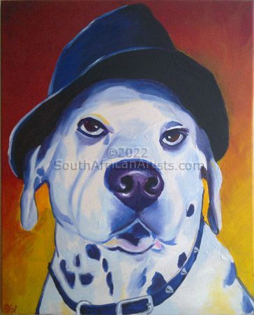 """Frank Dog Wearing Hat"""