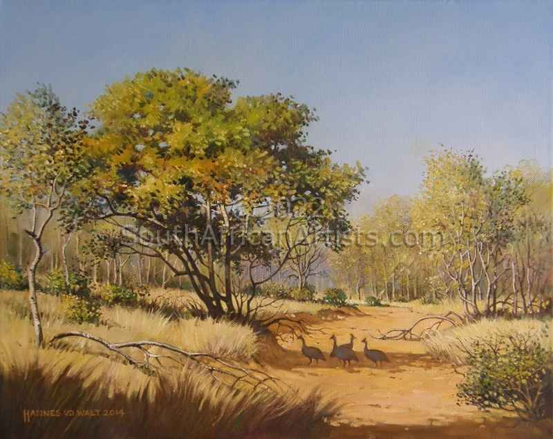 """Red Bushwillow and Guineafowl"""