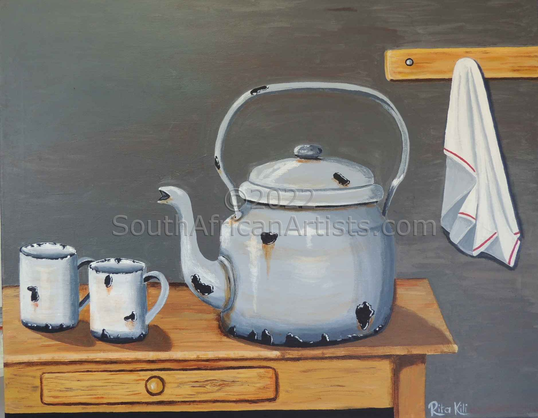 """Old Kettle on Table"""