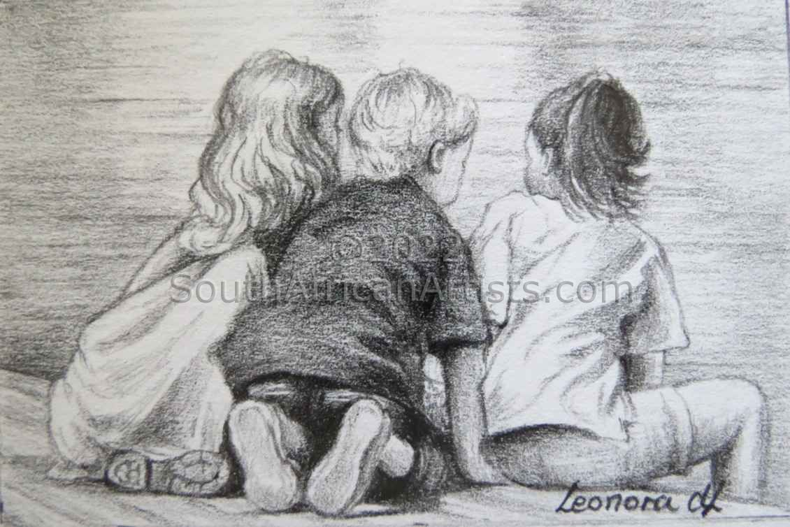 """Miniature - Three Children on the Waterfront"""