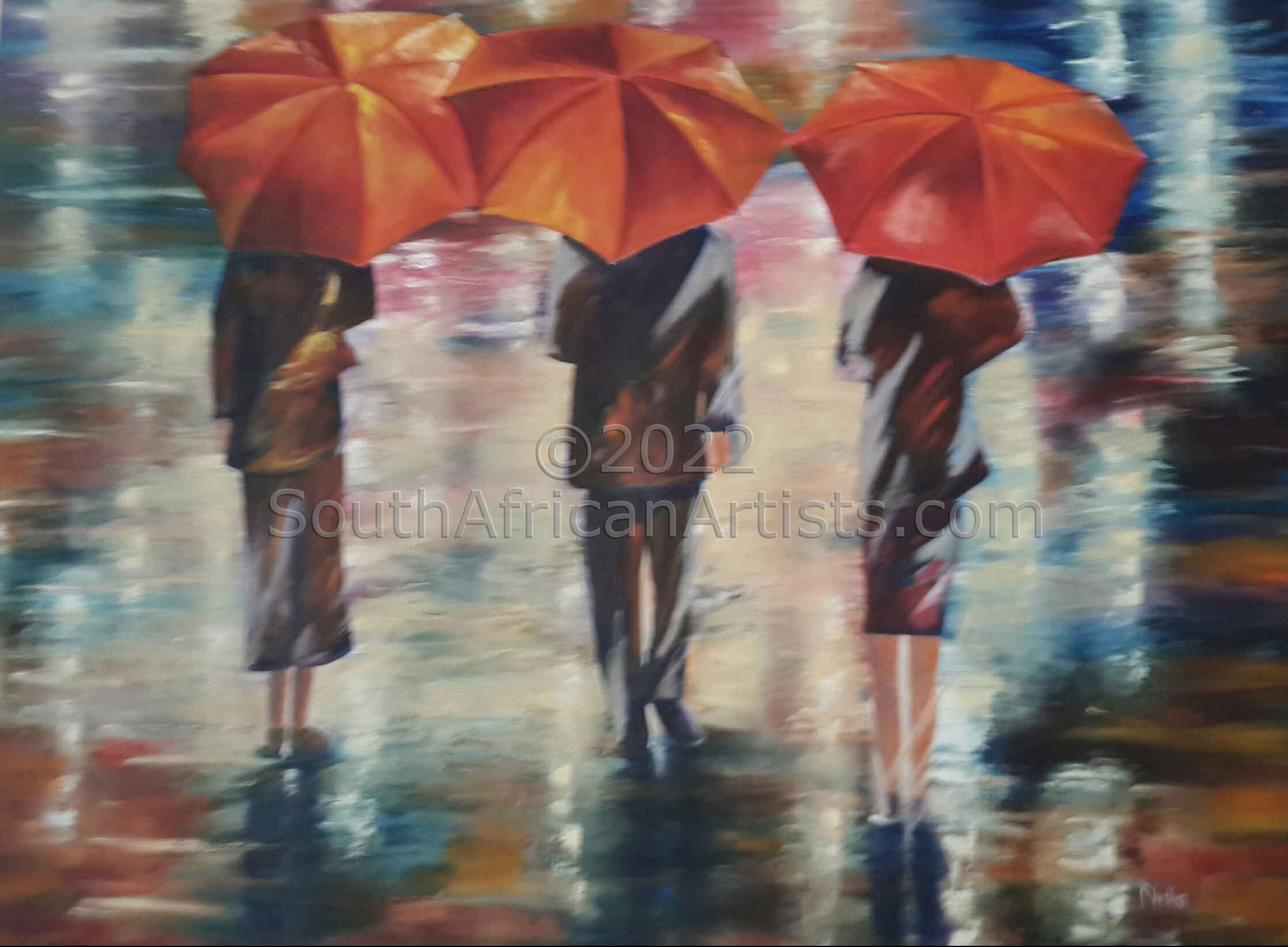 People Walking In The Rain
