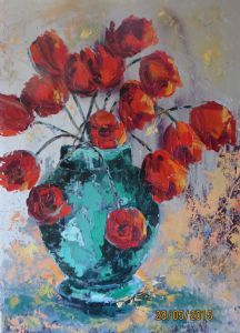 """Red Tulips In Emerald Pot"""